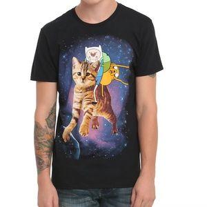 Adventure Time Finn & Jake Space Galaxy Cat Tee S